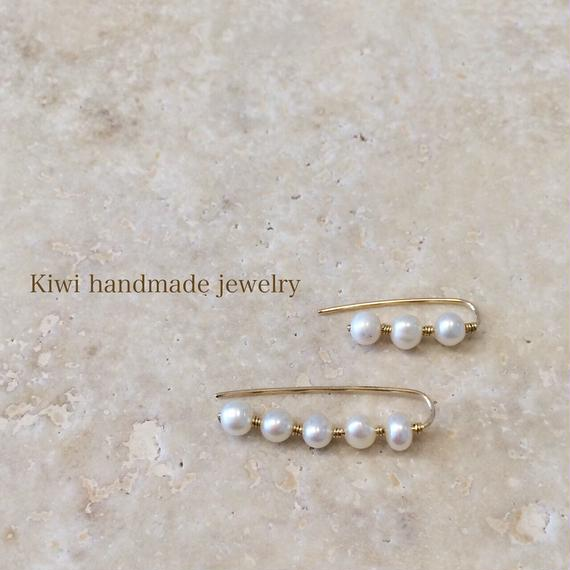 Kiwi パール&コイルワイヤーピアス