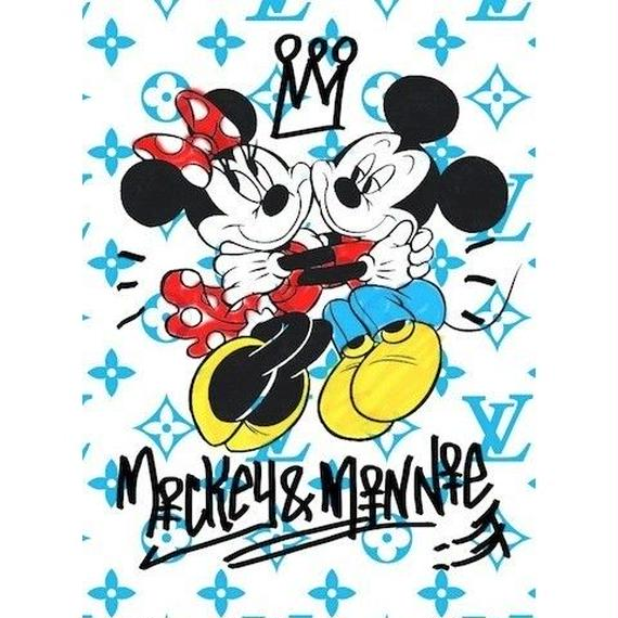 キャンバス410×273×D20mm 【 Mickey&Minnie Lovers #td41 】