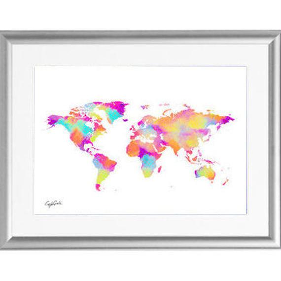 A4 ポスターフレームセット 【 LV WORLD MAP 】