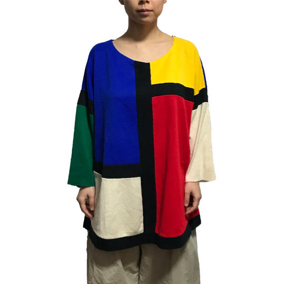 【USED】80'S MONDRIAN COLOR SWEATSHIRT