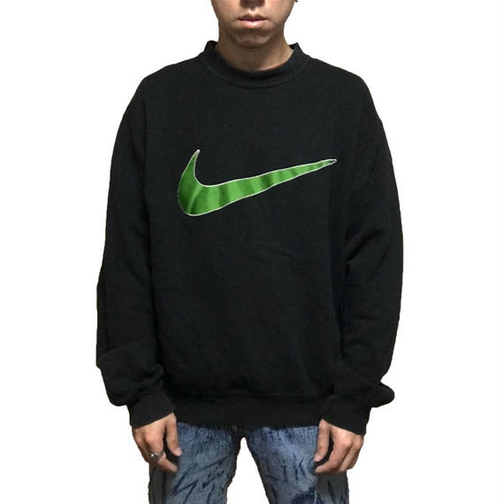 【USED】90'S NIKE LINE GREEN SWOOSH SWEAT SHIRT