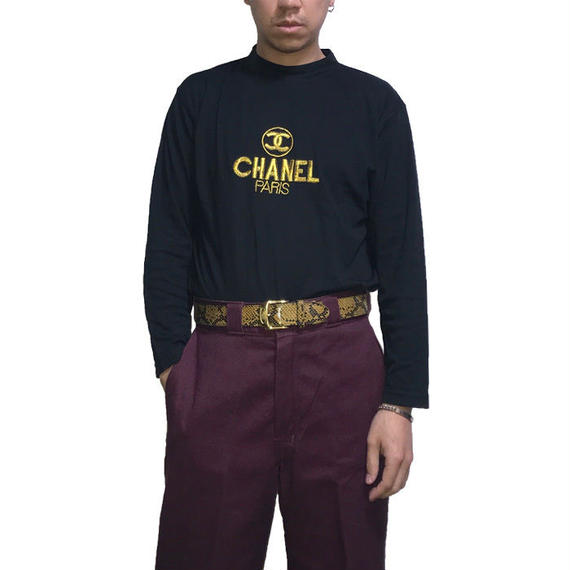 【USED】BOOTLEG CHANEL EMBROIDERED L/S T-SHIRT