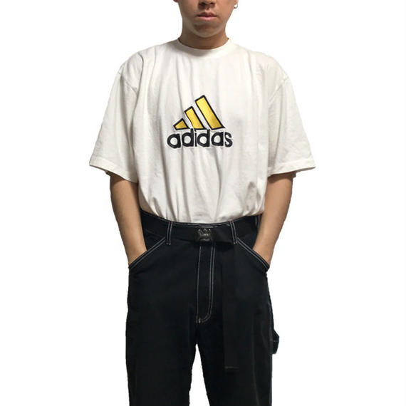 【USED】90'S ADIDAS OVERSIZED 3-STRIPES EMBROIDERY LOGO T-SHIRT