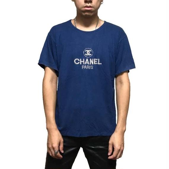 【USED】80'S BOOTLEG CHANEL LOGO EMBROIDERY T-SHIRT