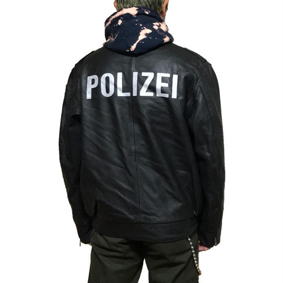 【USED】GERMAN POLICE LEATHER JACKET BLACK