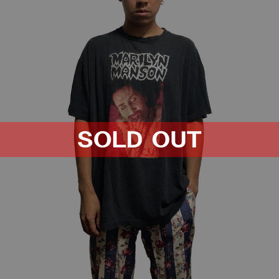 """【USED】90'S MARILYN MANSON  """"I AM THE GOD OF FUCK"""" T-SHIRT"""