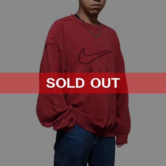 【USED】90'S NIKE SWOOSH SWEATSHIRT RED