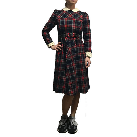 【USED】70'S WOOL TARTAN DRESS