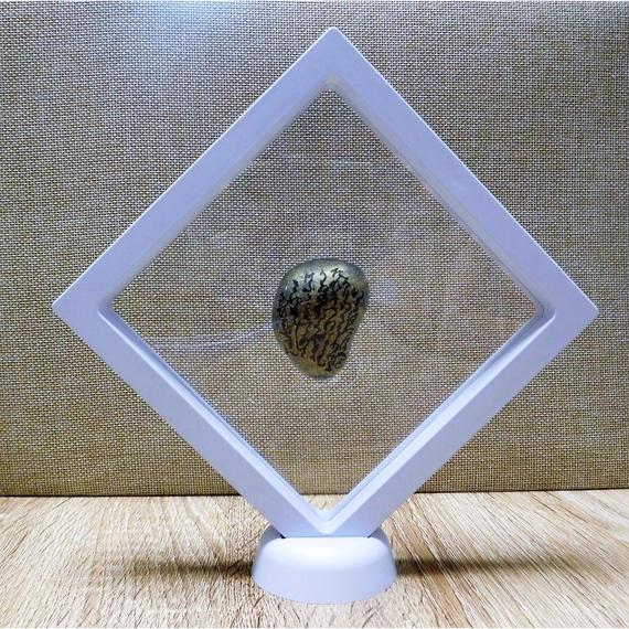 宇宙意思との共鳴共振「地球の石(意思)」白Ⅱ フレーム:一辺㎝厚さ2㎝ 高さ21㎝