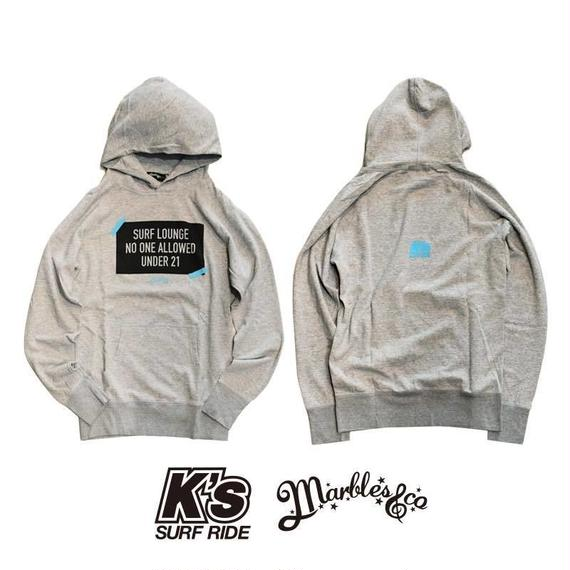 12.17 ON SALE Marbles×K's surf ride ダブルネームパーカー TOP GRAY