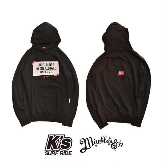 12.17 ON SALE Marbles×K's surf ride ダブルネームパーカー BLACK