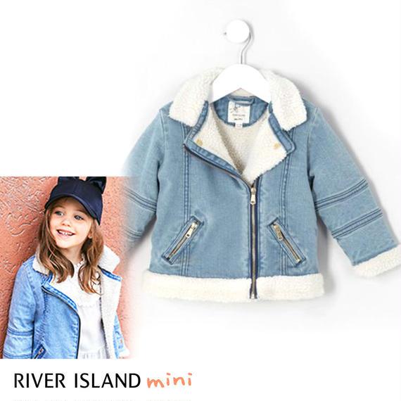 River Island|ボア裏地あったかデニムライダースジャケット