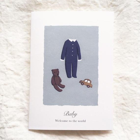出産お祝いカード ブルー