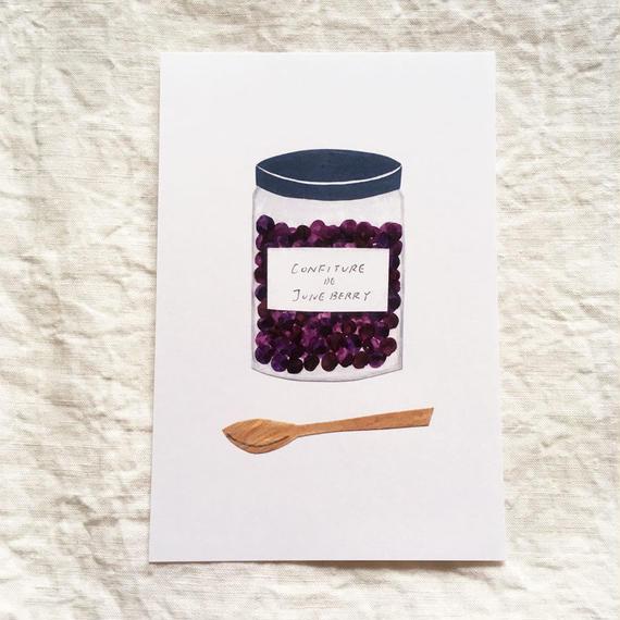 ポストカード ジャムと木のスプーン