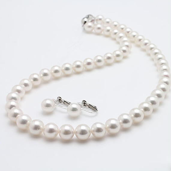 オーロラ花真珠ネックレス&イヤリングセット(D3PL001)