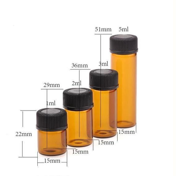 遮光ガラススクリュー管瓶(中栓付) 10本セット (1ml/2ml/3ml)