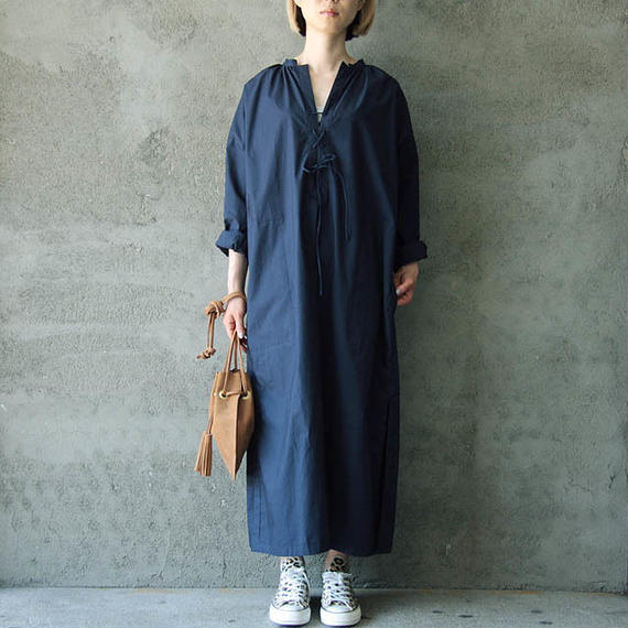 THE FACTORY slit dress (navy)