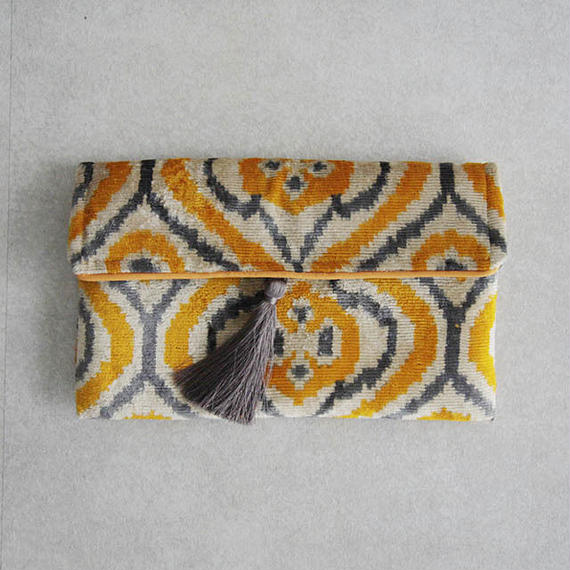 silk velvet clutch bag yellow