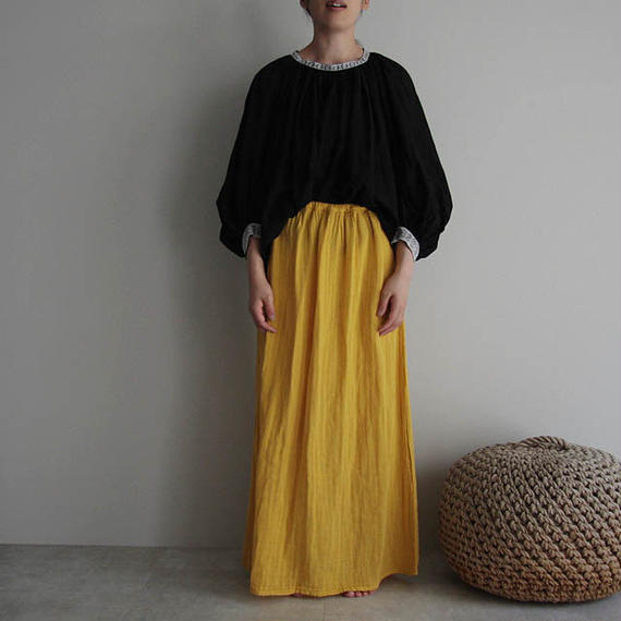 organic cotton long skirt  yellow