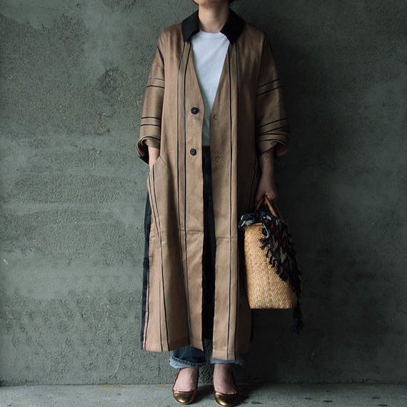 NATIVE VILLAGE linen mesh coat