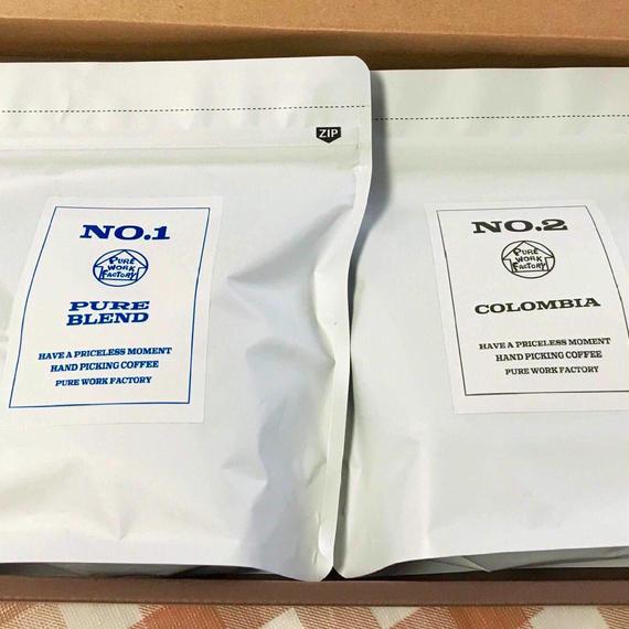 ギフト(オリジナル珈琲BOX) 200g×2種選択 ※粉・豆選択有 【NO1   PURE  BULEND】【NO2  COLOMBIA】【NO3  HONDURAS】