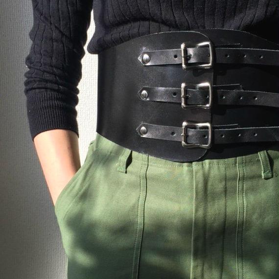 belt-02021 本牛革 ブラック キドニーベルト