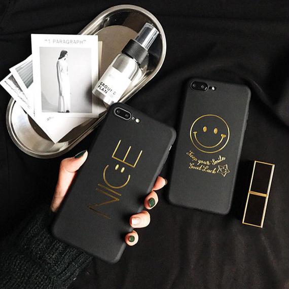 iphone-02348  送料無料! ブラック スマイル  ニコちゃん  NICE  iPhoneケース