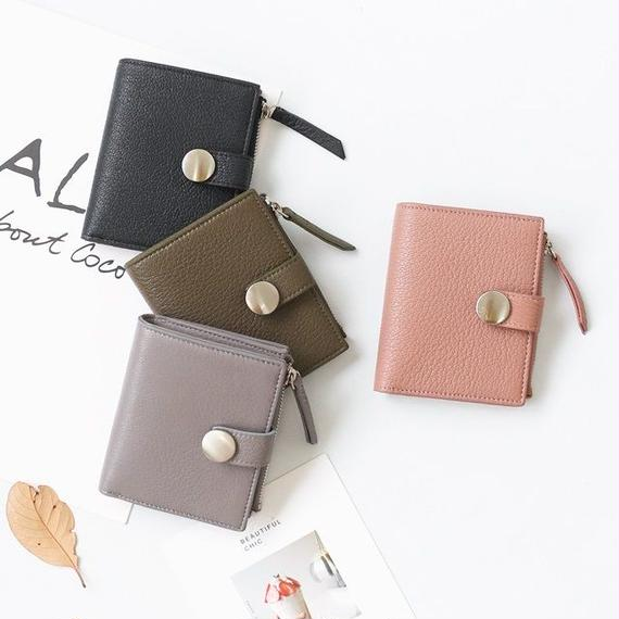 wallet-02044 本革レザー使用 ベルト付き二つ折りデザイン ミニ財布 小銭入れ付き  ミニウォレット