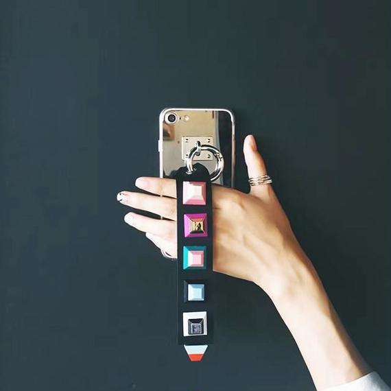 iphone-02246 送料無料! スタッズ付きストラップ メタリックシルバー  iPhoneケース
