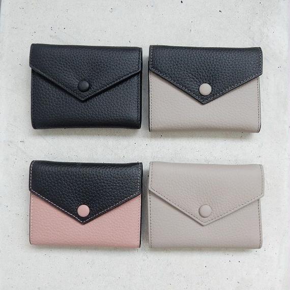 wallet-02040 本革レザー使用 シンプル三つ折りデザイン ミニ財布 小銭入れ付き  ミニウォレット