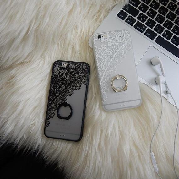 iphone-02244 送料無料! レースフラワー柄 バンカーリング付き 半透明 iPhoneケース