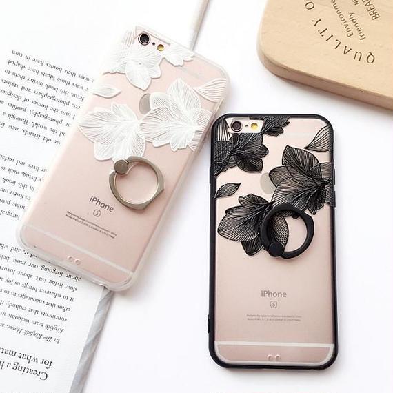 iphone-02230  送料無料! フラワー柄 バンカーリング付き 半透明 iPhoneケース