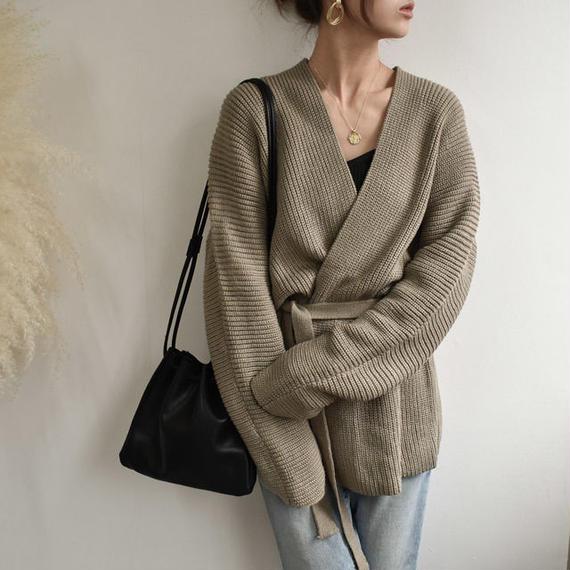 knit-02008 ベルト付き ニットガウン カーディガン グレージュ ライトカーキ ブラウン グレー