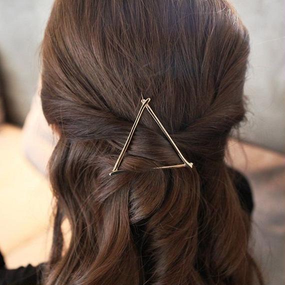hair-02182 送料無料! タイプ2 ゴールド アメピン三角形風 トライアングル フレームピン バレッタクリップ
