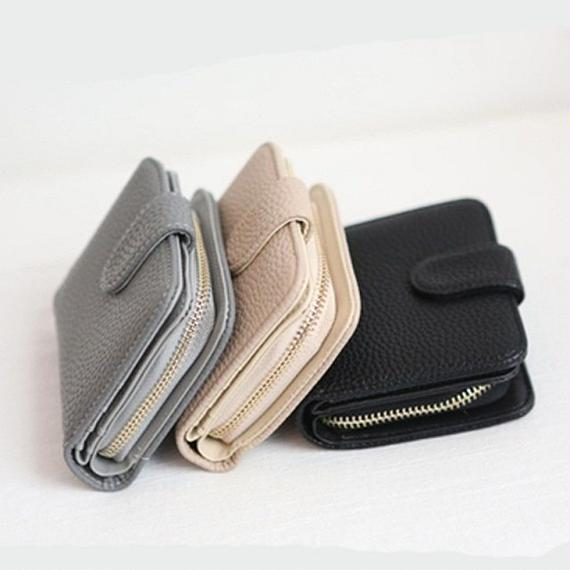 wallet-02003 シボ加工 ミニ財布 小銭入れ付き 二つ折り ミニウォレット