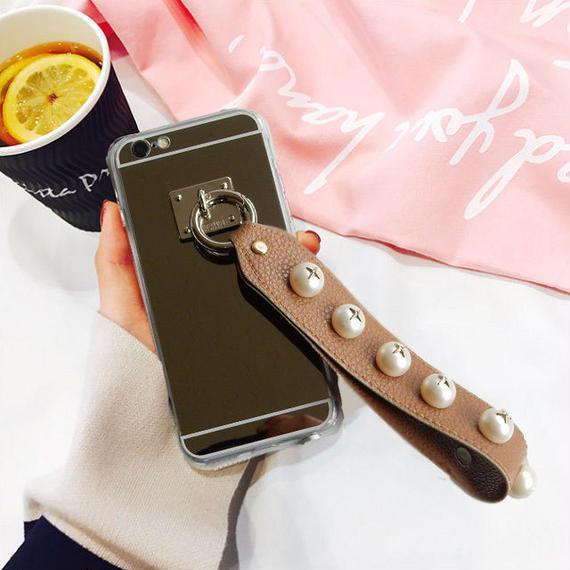 iphone-02326  送料無料! ブラウン パールスタッズ ストラップ付き iPhoneケース