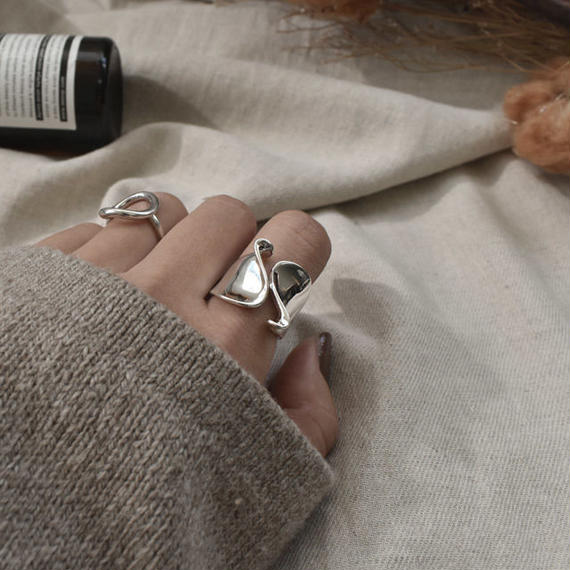 ring2-02050 送料無料! SV925コーティング ニュアンスウェーブリング シルバー925