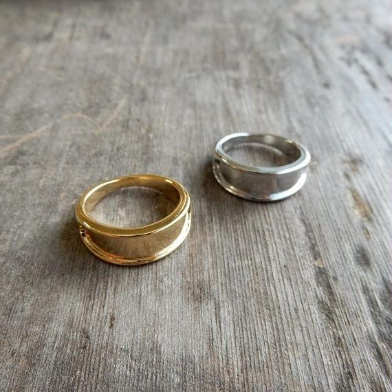 ring-02129 送料無料! タイプ3 フォールドラインリング 11号 シルバー・ゴールド サイズ調整不可
