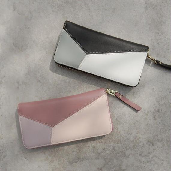 wallet-02052 配色デザイン 長財布 小銭入れ付き ジッパー ウォレット ブラック ピンク
