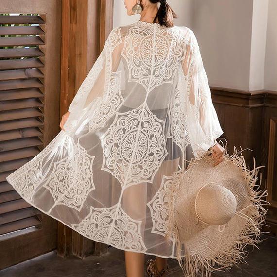 gown-02010 ロングレースガウン  カバーアップ レディース