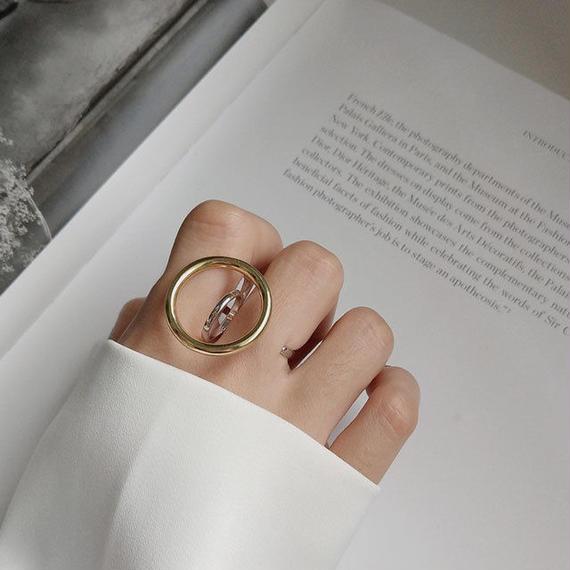 ring2-02025 SV925 ゴールドサークル ツーフィンガーリング シルバー925リング