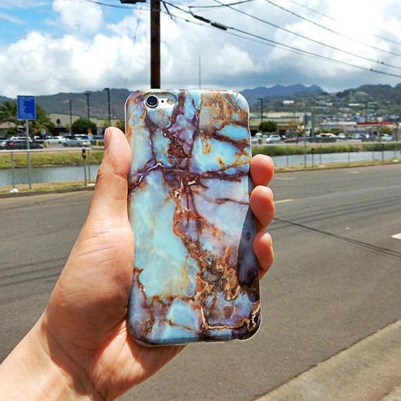 iphone-02004 送料無料! ターコイズ柄 天然石 iPhoneケース