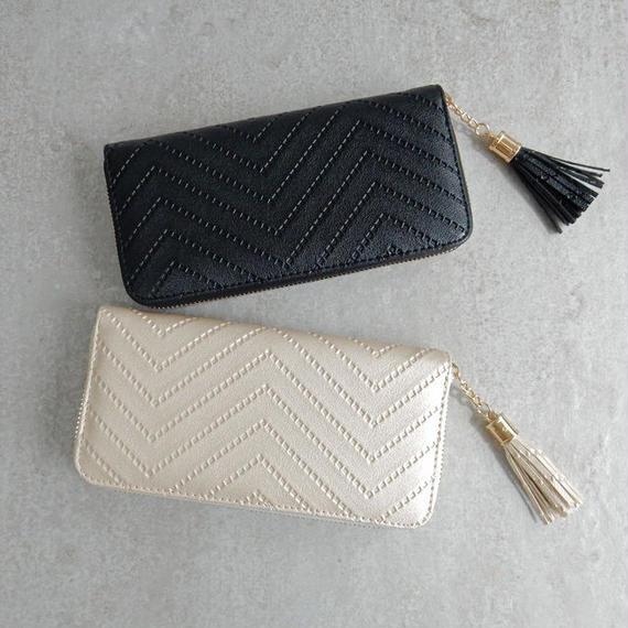 wallet-02051 ヘリンボーン柄タッセル付き 長財布 小銭入れ付き ジッパー ウォレット
