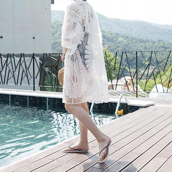 gown-02006 ロングレースガウン カバーアップ レディース オフホワイト