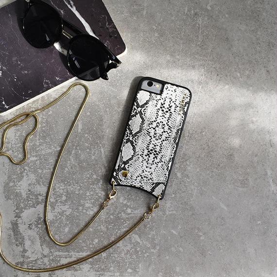 iphone-02503 送料無料! ショルダーチェーン ホワイトパイソン柄 カード収納付き iPhoneケース