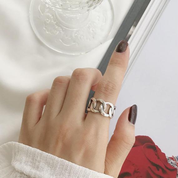 ring2-02038 送料無料! SV925 チェーンデザインリング 幅10mm シルバー925