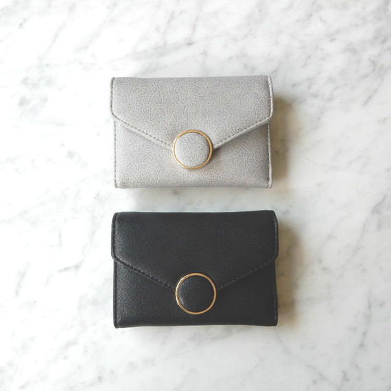 wallet-02026 サークルデザイン ミニ財布 小銭入れ付き 三つ折り ミニウォレット