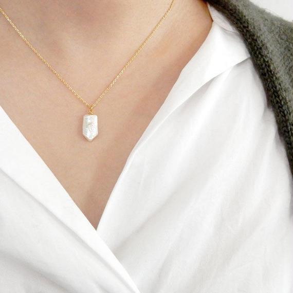 necklace2-02001 送料無料! 淡水パール Rocket型 オリジナルネックレス 40cm 日本製 ハンドメイド ☆ WA04