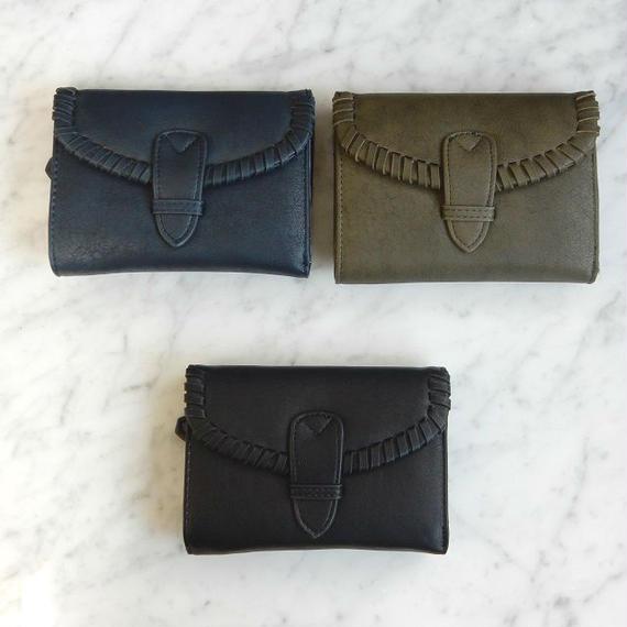 wallet-02008 淵編み込みデザイン ミニ財布 小銭入れ付き 三つ折り ミニウォレット