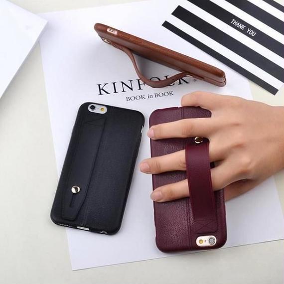 iphone-02321 送料無料! シンプルフェイクレザー風 落下防止 ベルト付き iPhoneケース